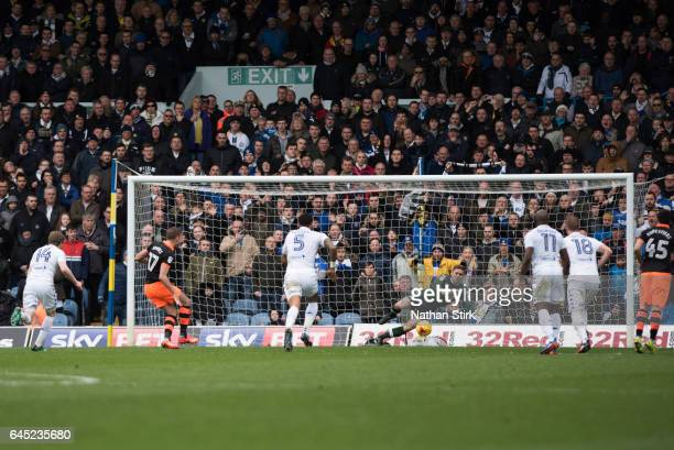 Robert Green of Leeds United saves Jordan Rhodes of Sheffield Wednesday penalty during the Sky Bet Championship match between Leeds United and...
