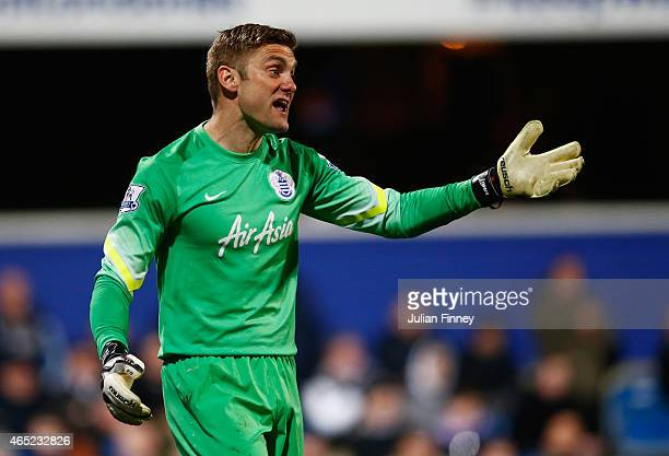 Robert Green of QPR gestures during the Barclays Premier League match between Queens Park Rangers and Arsenal at Loftus Road on March 4 2015 in...