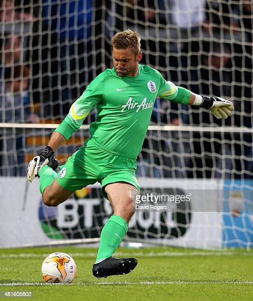 Robert Green of QPR kicks the ball upfield during the pre season friendly match between Queens Park Rangers and Dundee United at The Hive on July 22...
