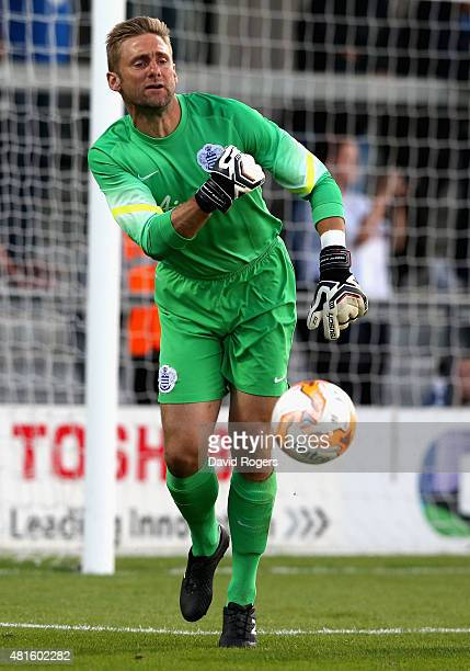 Robert Green of QPR passes the ball during the pre season friendly match between Queens Park Rangers and Dundee United at The Hive on July 22 2015 in...