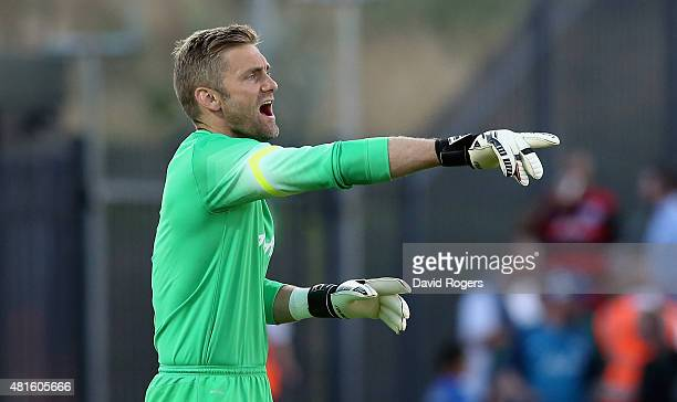 Robert Green of QPR shouts instructions during the pre season friendly match between Queens Park Rangers and Dundee United at The Hive on July 22...
