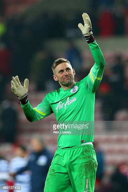 Robert Green of QPR waves to the fans after victory in the Barclays Premier League match between Sunderland and Queens Park Rangers at Stadium of...