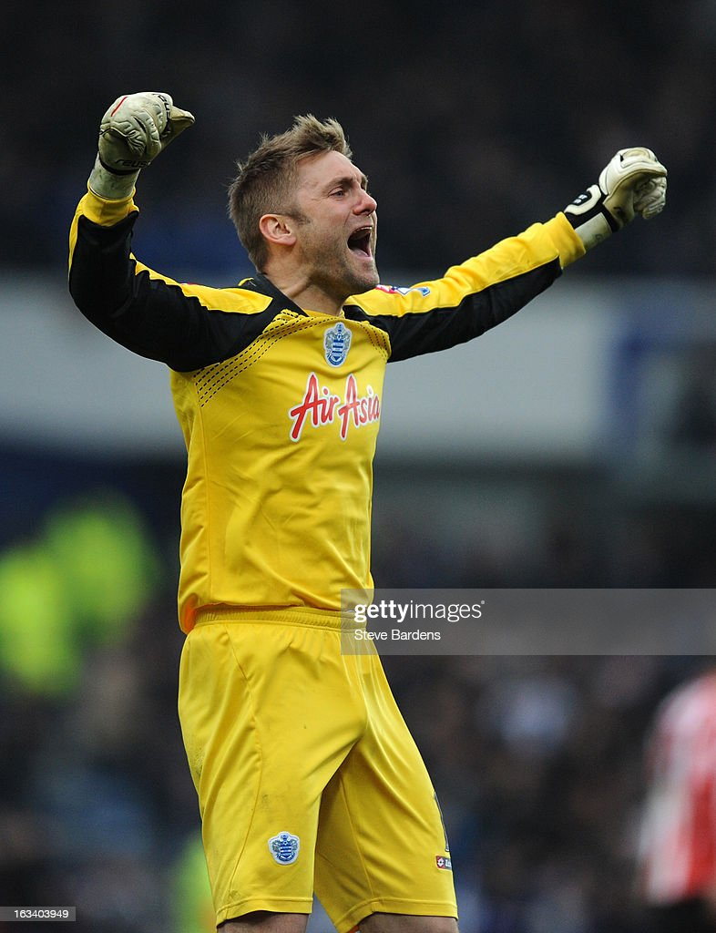 Robert Green of Queens Park Rangers celebrates during the Barclays Premier League match between Queens Park Rangers and Sunderland at Loftus Road on March 9, 2013 in London, England.