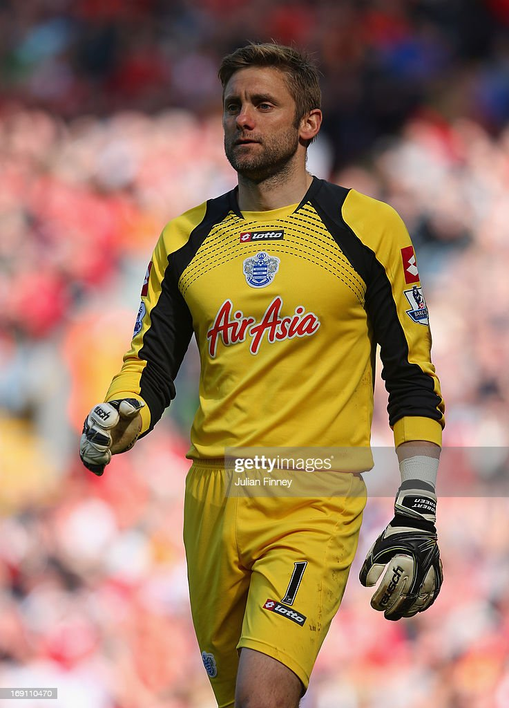 Robert Green of Queens Park Rangers looks on during the Barclays Premier League match between Liverpool and Queens Park Rangers at Anfield on May 19, 2013 in Liverpool, England.