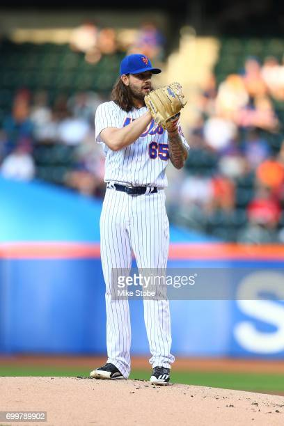 Robert Gsellman of the New York Mets in action against the Washington Nationals at Citi Field on June 15 2017 in the Flushing neighborhood of the...