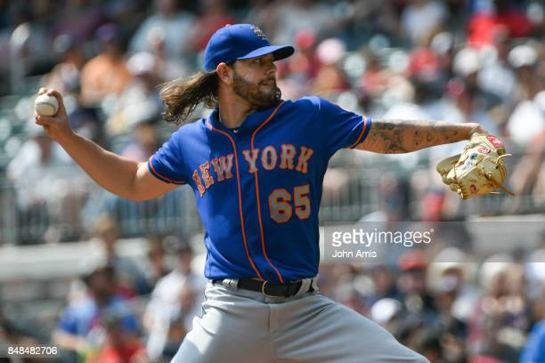 Robert Gsellman of the New York Mets pitches against the Atlanta Braves in the first inning at SunTrust Park on September 17 2017 in Atlanta Georgia