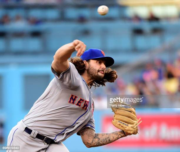 Robert Gsellman of the New York Mets pitches against the Los Angeles Dodgers during the first inning at Dodger Stadium on June 20 2017 in Los Angeles...