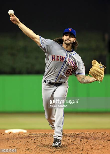 Robert Gsellman of the New York Mets pitches during a game against the Miami Marlins at Marlins Park on June 27 2017 in Miami Florida