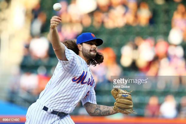 Robert Gsellman of the New York Mets pitches in the first inning against the Washington Nationals at Citi Field on June 15 2017 in the Flushing...