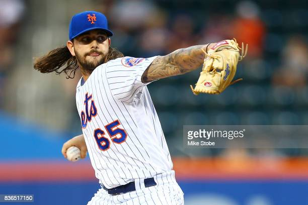 Robert Gsellman of the New York Mets pitches in the first inning against the Arizona Diamondbacks at Citi Field on August 21 2017 in the Flushing...