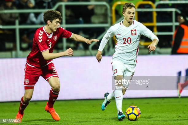 Robert Gumny Jacob Rasmussen during UEFA U21 Championship Qualifier match between Poland and Denmark on November 14 2017 in Gdynia Poland