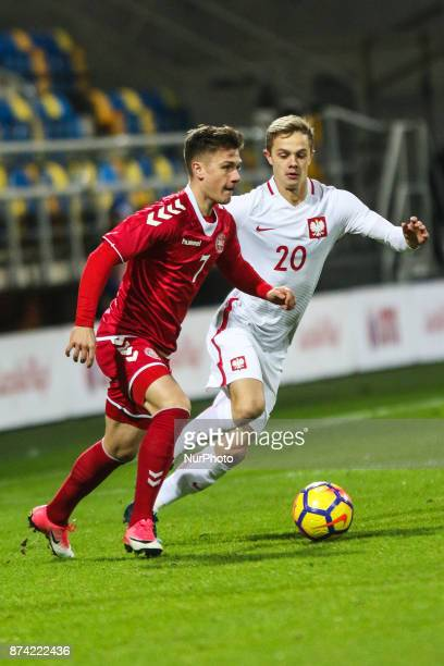 Robert Gumny Mikkel Duelund during UEFA U21 Championship Qualifier match between Poland and Denmark on November 14 2017 in Gdynia Poland