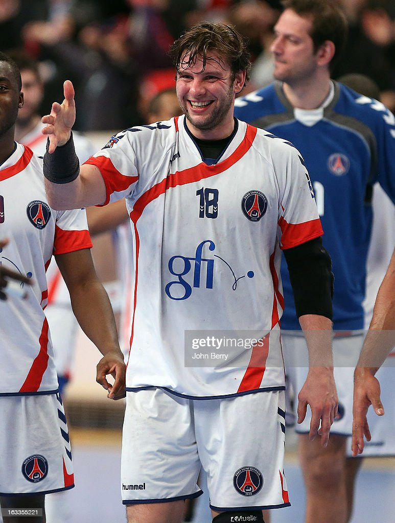 <a gi-track='captionPersonalityLinkClicked' href=/galleries/search?phrase=Robert+Gunnarsson&family=editorial&specificpeople=597022 ng-click='$event.stopPropagation()'>Robert Gunnarsson</a> of PSG Handball celebrates the victory after the handball's Division 1 match between Paris Saint-Germain Handball and Dunkerque at the Stade Pierre de Coubertin on March 7, 2013 in Paris, France.