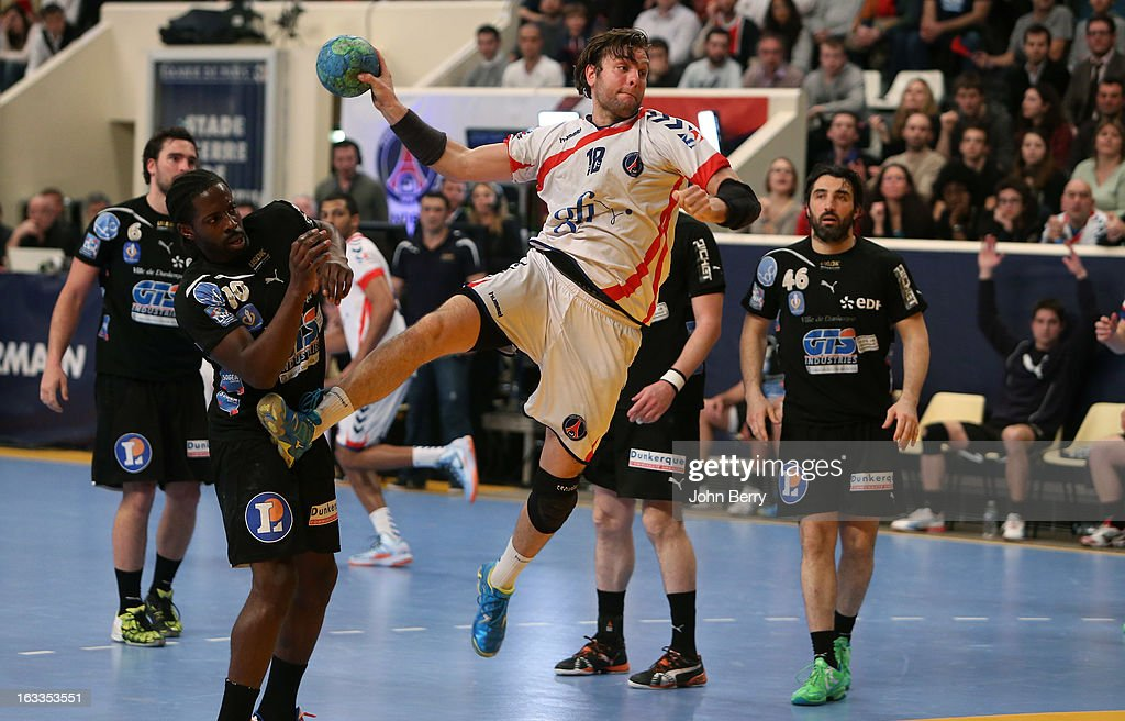 <a gi-track='captionPersonalityLinkClicked' href=/galleries/search?phrase=Robert+Gunnarsson&family=editorial&specificpeople=597022 ng-click='$event.stopPropagation()'>Robert Gunnarsson</a> of PSG Handball in action during the handball's Division 1 match between Paris Saint-Germain Handball and Dunkerque at the Stade Pierre de Coubertin on March 7, 2013 in Paris, France.