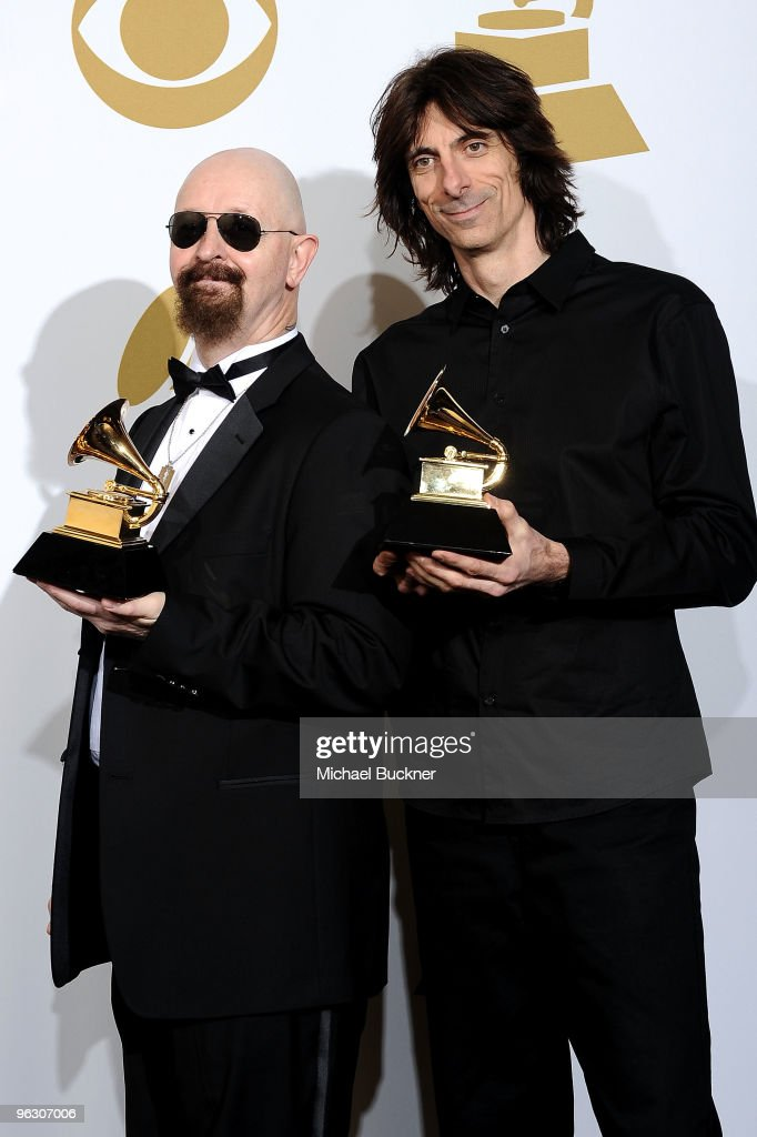 Robert Halford and Scott Travis pose in the press room at the 52nd Annual GRAMMY Awards held at Staples Center on January 31, 2010 in Los Angeles, California.