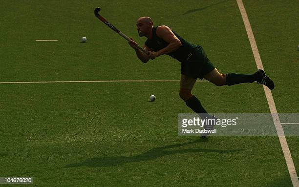 Robert Hammond of the Australian Mens Hockey team practices a penalty corner at the Major Dhyan Chand National Stadium ahead of the Delhi 2010...