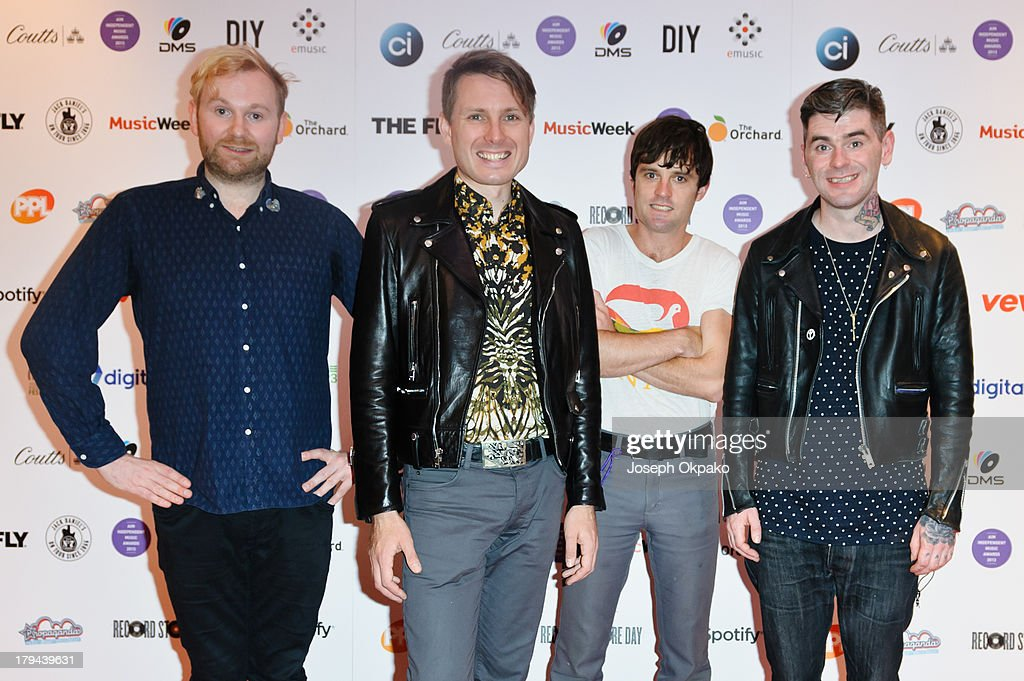Robert Hardy, Alex Kapranos, <a gi-track='captionPersonalityLinkClicked' href=/galleries/search?phrase=Nick+McCarthy&family=editorial&specificpeople=220685 ng-click='$event.stopPropagation()'>Nick McCarthy</a> and Paul Thomson of Franz Ferdinand attends the AIM Independent Music Awards at The Brewery on September 3, 2013 in London, England.