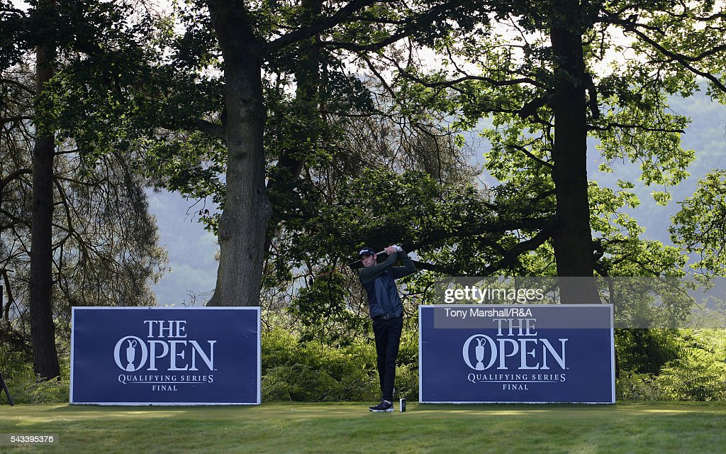 Robert Harrhy of Frilford Heath plays his first shot on the 10th tee during the Open Championship Qualifying - Woburn at Woburn Golf Club on June 28, 2016 in Woburn, England.