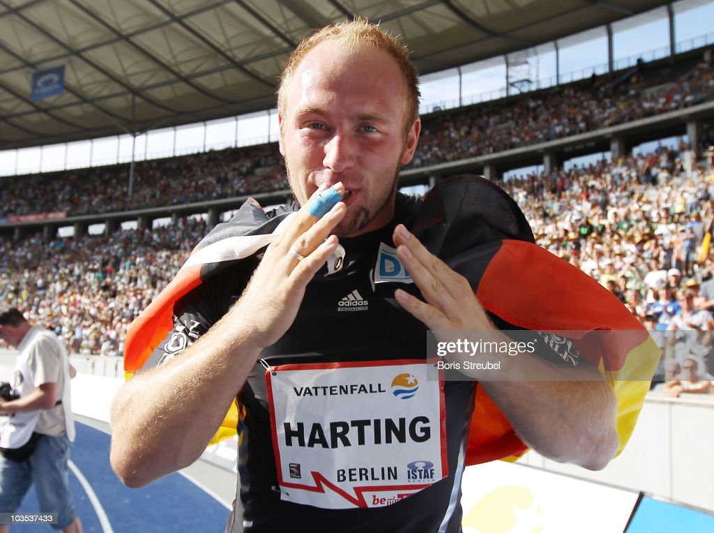 <a gi-track='captionPersonalityLinkClicked' href=/galleries/search?phrase=Robert+Harting&family=editorial&specificpeople=4454412 ng-click='$event.stopPropagation()'>Robert Harting</a> of Germany celebrates after winning the men's discus throw event during the IAAF World Challenge ISTAF 2010 at the Olympic Stadium on August 22, 2010 in Berlin, Germany.