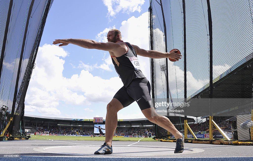 <a gi-track='captionPersonalityLinkClicked' href=/galleries/search?phrase=Robert+Harting&family=editorial&specificpeople=4454412 ng-click='$event.stopPropagation()'>Robert Harting</a> of Germany competes in the Men's Discus Throw during second day of the European Athletics Team Championship at Eintracht Stadion on June 22, 2014 in Braunschweig, Germany.