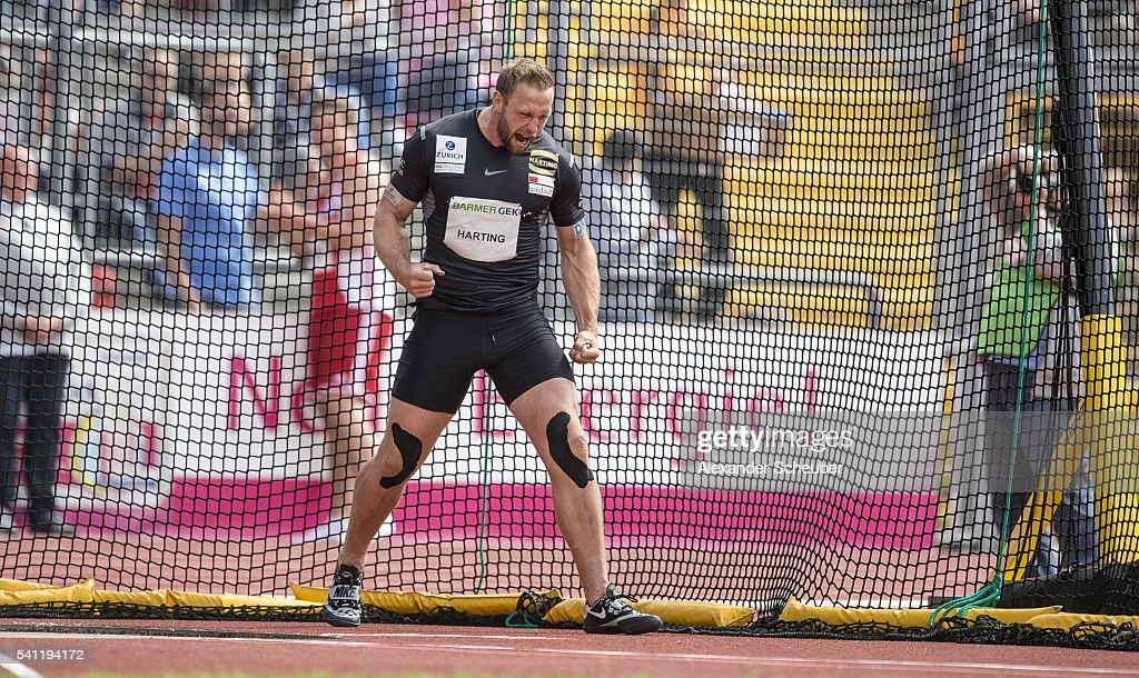 Robert Harting of SCC Berlin celebrates winning the men's discus final during day 2 of the German Championships in Athletics at Aue Stadium on June...