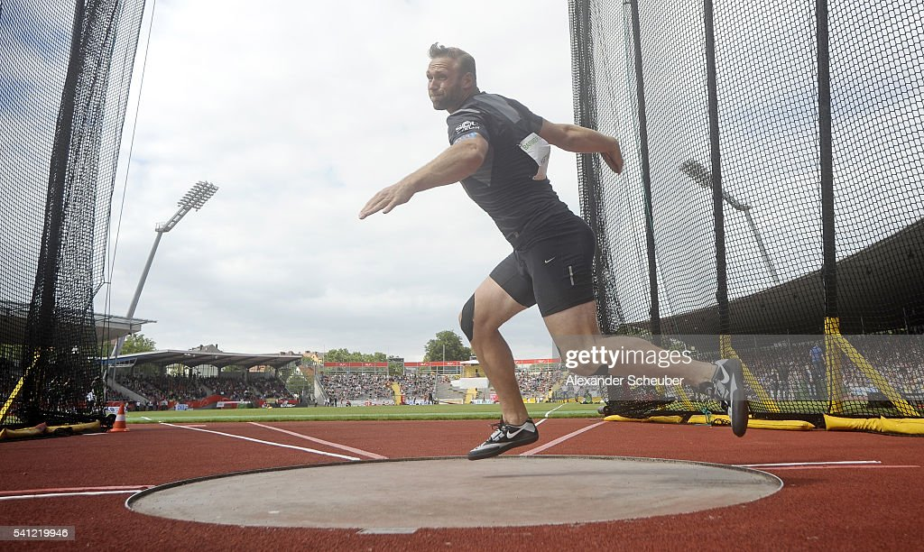 Robert Harting of SCC Berlin competes during the men's discus final during day 2 of the German Championships in Athletics at Aue Stadium on June 19...
