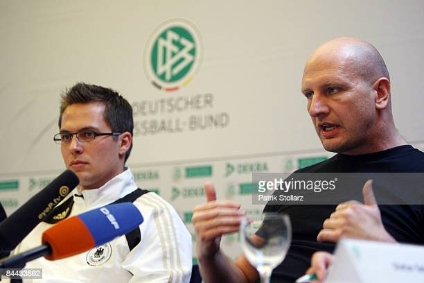 Robert Hartmann referee of the German Football Association and business coach Stefan Spies speak during a news conference on January 24 2009 in Mainz...
