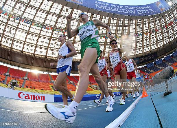 Robert Heffernan of Ireland and Takayuki Tanii of Japan compete in the Men's 50km Race Walk final during Day Five of the 14th IAAF World Athletics...