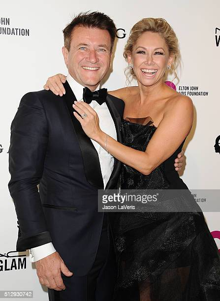 Robert Herjavec and Kym Johnson attend the 24th annual Elton John AIDS Foundation's Oscar viewing party on February 28 2016 in West Hollywood...