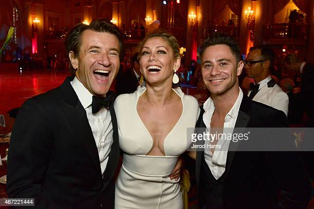 Robert Herjavec Kym Johnson and Sasha Farber attend the 2015 Royal Ball Hollywood Gala at Millennium Biltmore Hotel on March 21 2015 in Los Angeles...