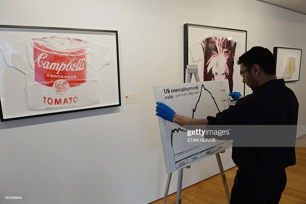 Robert Hernandez places 'U.S. Unemployment Rate', ca. 1984 by Andy Warhol (estimate at 20,000 to 30,000 USD) on an easel during a preview of highlights of 'Andy Warhol @ Christie's' February 21, 2013 at Christie's in New York. Christie's announced an online-only auction series in partnership with The Andy Warhol Foundation for the Visual Arts, the first to take place from February 26 to March 5 when collectors can bid online for 125 paintings, drawings, photographs and prints by Warhol. 'Campbell's Tomato Soup' (L), a screenprint on t-shirt, ca 1981 (estimate at 12,000 to 15,000 USD) and 'Self-Portrait with Fright Wig' (C), a screenprint on t-shirt, ca. 1986 (estimate 15,000-20,000 USD) are on display. AFP PHOTO/Stan HONDA