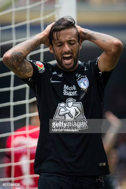 Robert Herrera of Pachuca reacts during the 1st round match between Pumas UNAM and Pachuca as part of the Torneo Apertura 2017 Liga MX at Olimpico...