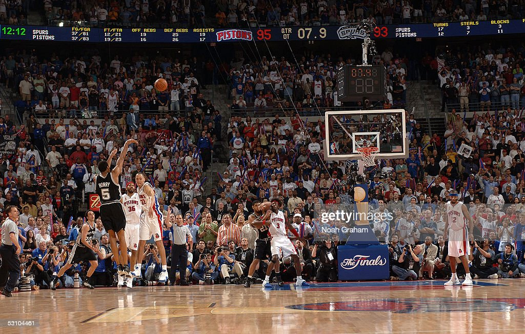 Robert Horry of the San Antonio Spurs shoots and makes a gamewinning 3point shot to put the Spurs up 9695 with 76 seconds left in overtime against...