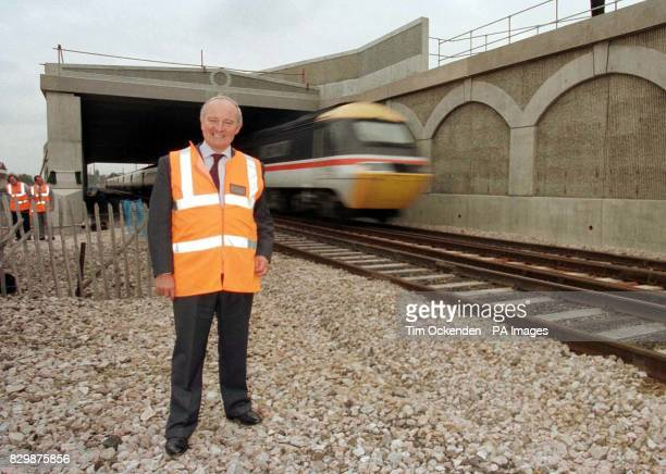 Robert Horton Chairman of Railtrack at the completed site for the airport junction section of the Heathrow Express this morning When the service...