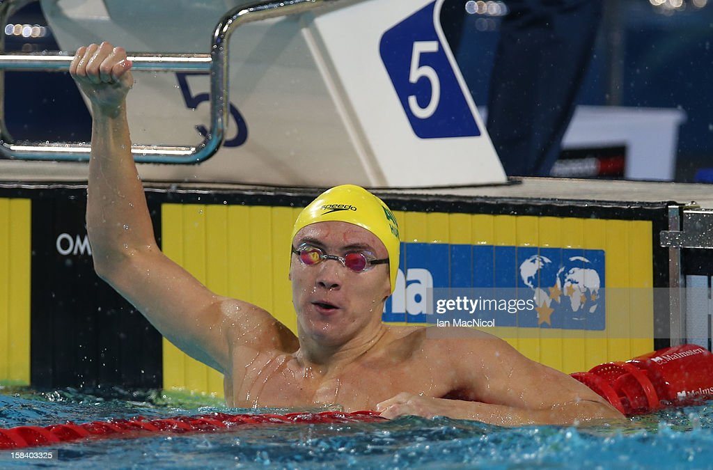 Robert Hurley of Australia celebrates winning the Men's 50m Backstroke Final during day four of the 11th FINA Short Course World Championships at the Sinan Erdem Dome on December 15, 2012 in Istanbul, Turkey.