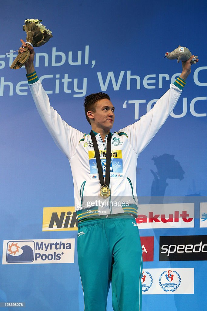 Robert Hurley of Australia poses with his Gold medal on the podium after winning the Men's 50m Backstroke Final during day four of the 11th FINA Short Course World Championships at the Sinan Erdem Dome on December 15, 2012 in Istanbul, Turkey.