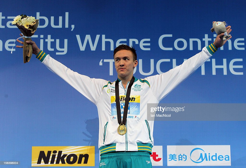 Robert Hurley of Austria poses with his gold medal from the men's 50m Backstroke Final during day four of the 11th FINA Short Course World Championships at the Sinan Erdem Dome on December 14, 2012 in Istanbul, Turkey.