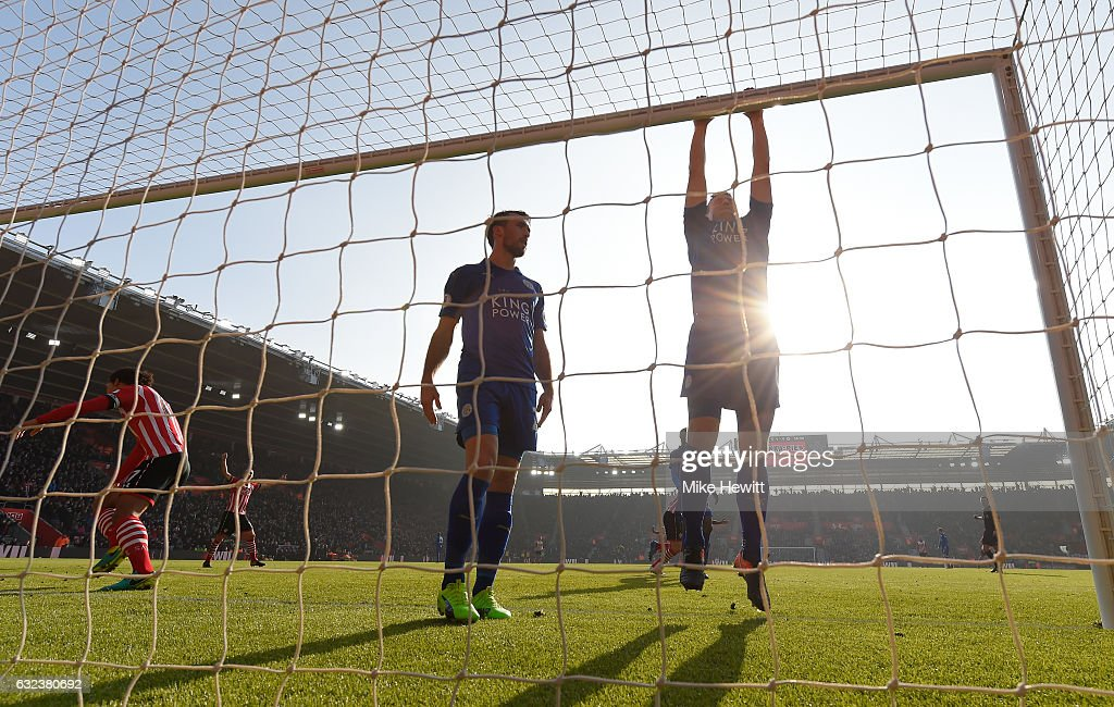 Robert Huth (R) and Christian Fuchs (L) of Leicester City show dejection after Southampton's second goal during the Premier League match between Southampton and Leicester City at St Mary's Stadium on January 22, 2017 in Southampton, England.