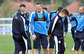 Robert Huth during a Leicester City training session at Belvoir Drive Training Complex on April 8 2016 in Leicester United Kingdom
