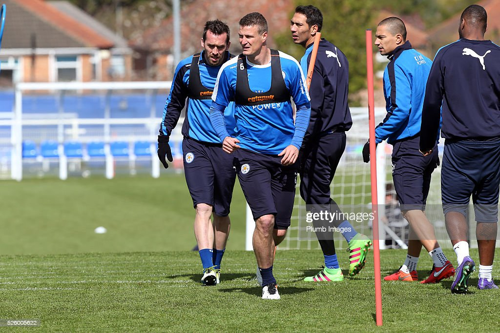 Robert Huth during the Leicester City training session at Belvoir Drive Training Complex on April 29, 2016 in Leicester, United Kingdom.