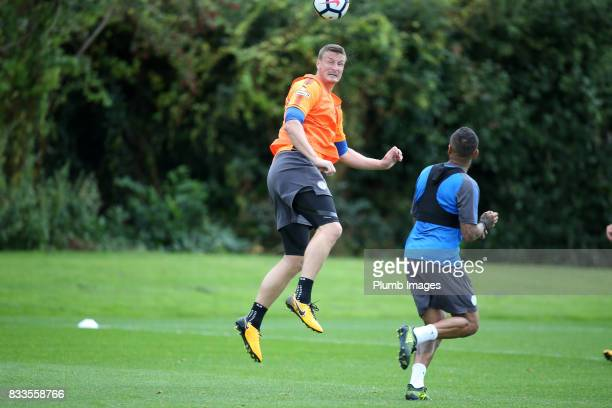 Robert Huth during the Leicester City training session at Belvoir Drive Training Complex on August 17 2017 in Leicester United Kingdom