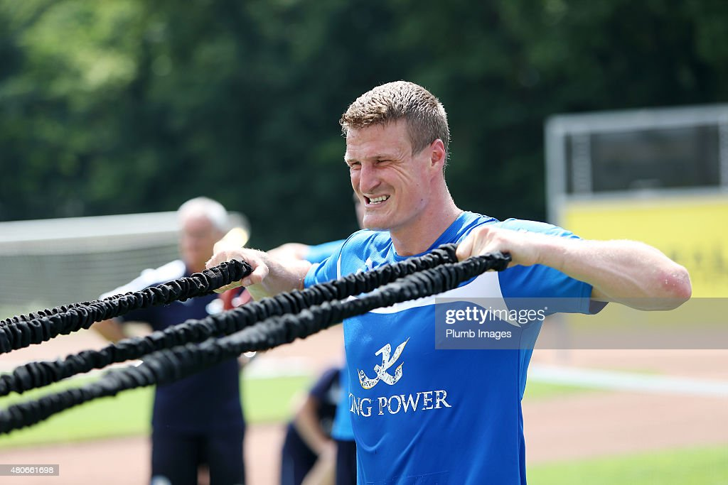 Robert Huth during the Leicester City training session at their pre-season training camp on July 14, 2015 in Spielfeld, Austria.