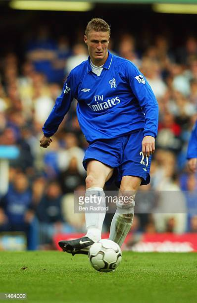 Robert Huth of Chelsea in action during the FA Barclaycard Premiership match between Chelsea and West Ham United at Stamford Bridge in London England...