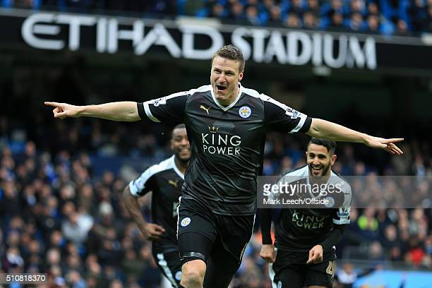 Robert Huth of Leicester celebrates after scoring their 3rd goal during the Barclays Premier League match between Manchester City and Leicester City...