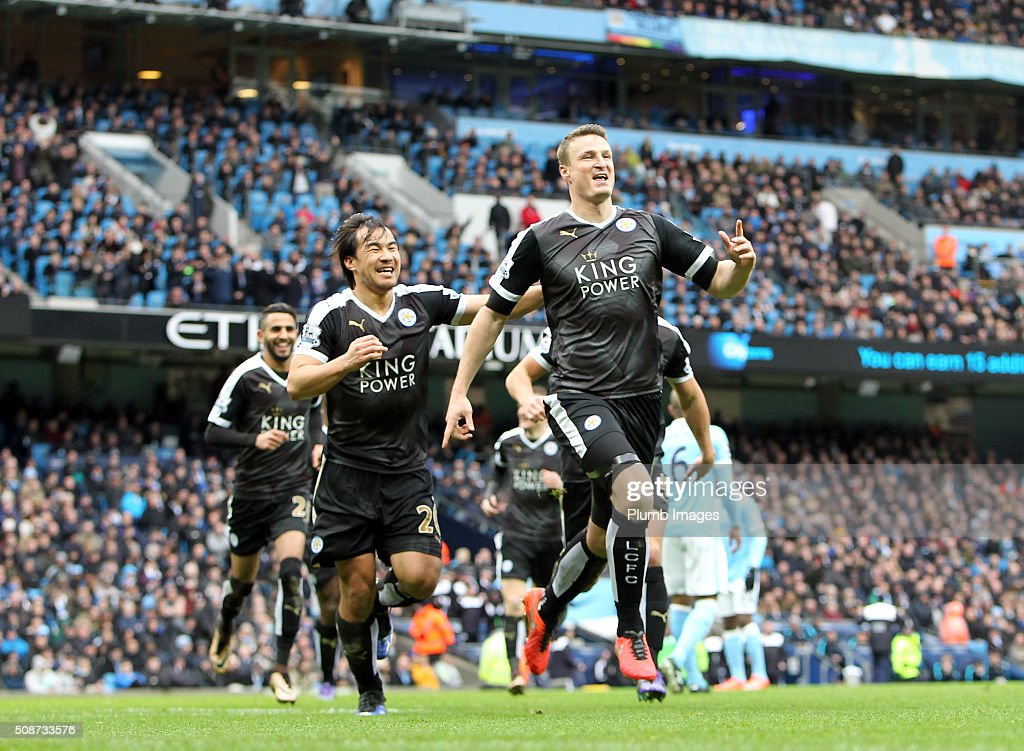 Robert Huth of Leicester City celebrates after scoring to make it 0-3 during the Premier League match between Manchester City and Leicester City at Etihad Stadium on February 6, 2016 in Manchester, United Kingdom.