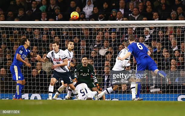Robert Huth of Leicester City scores his team's first goal during the Barclays Premier League match between Tottenham Hotspur and Leicester City at...