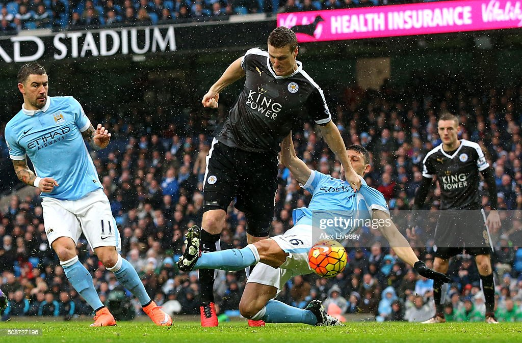 Robert Huth of Leicester City scores his team's first goal during the Barclays Premier League match between Manchester City and Leicester City at the Etihad Stadium on February 6, 2016 in Manchester, England.