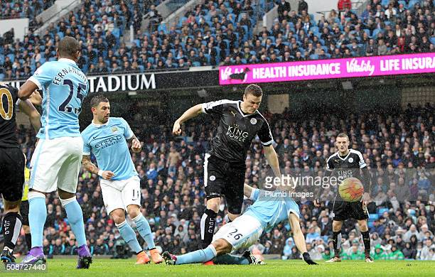 Robert Huth of Leicester City scores to make it 01 during the Premier League match between Manchester City and Leicester City at Etihad Stadium on...