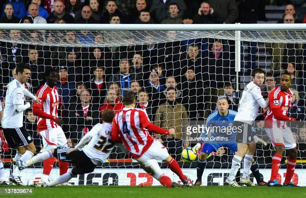 Robert Huth of Stoke City scores his team's second goal past Frank Fielding of Derby County during the FA Cup Fourth Round match between Derby County...