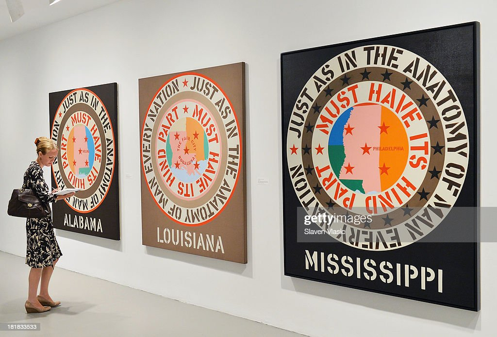 Robert Indiana's (L-R) 'Alabama', 'Lousiana' and 'Mississippi', all oil on canvas, a part of 'Robert Indiana: Beyond Love' exibition on display at The Whitney Museum of American Art on September 25, 2013 in New York City.